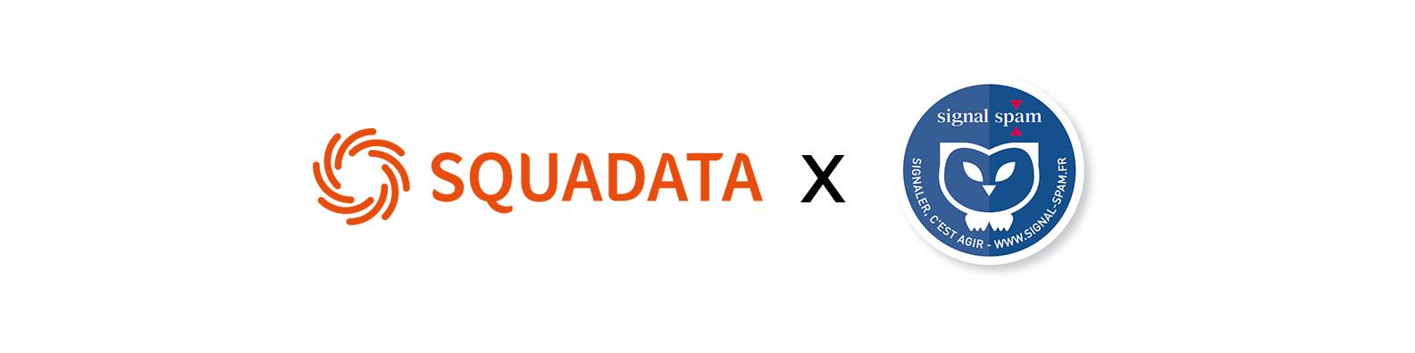 Squadata x Signal Spam logos